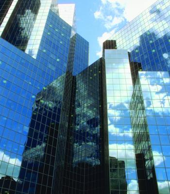 Buildings reflecting sky