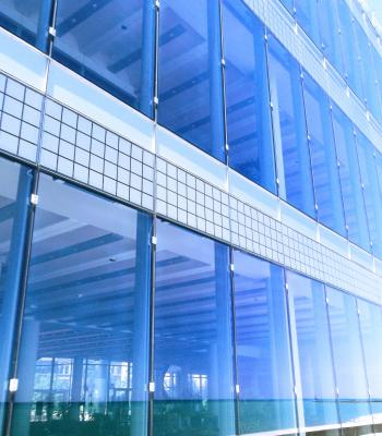 Blue building with glass windows